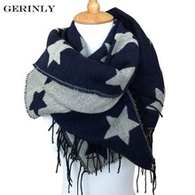 GERINLY Scarf Women 180*70cm Cashmere Scarfs Five-pointed Star Design Tassel Shawls Blanket Winter Scarves Ladies Poncho Cape(China)