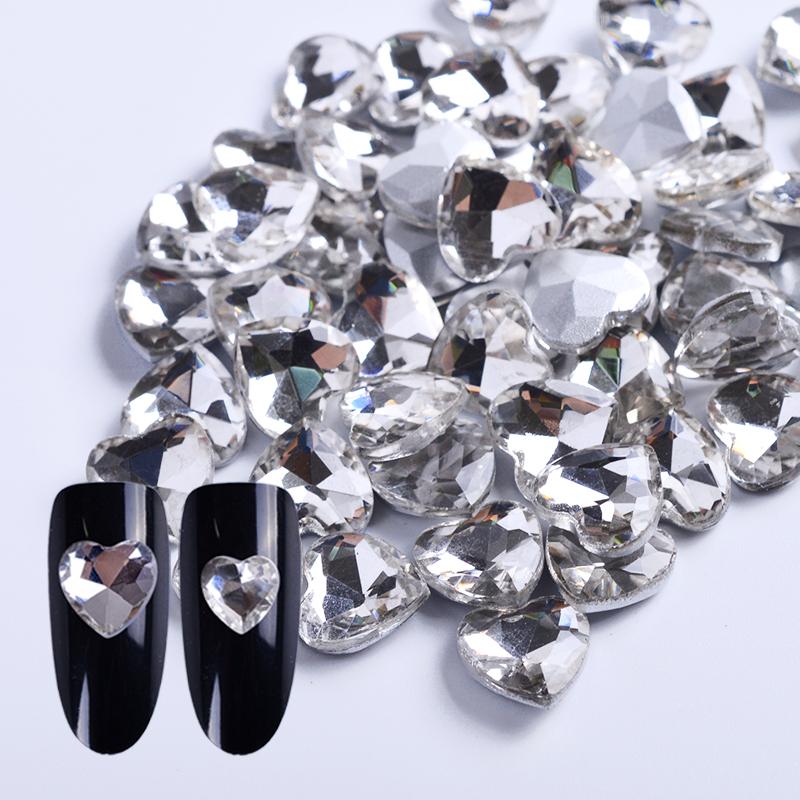 heart nail crystal rhinestone