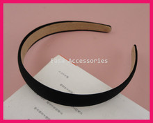 10PCS 20mm Black Satin Fabric Covered Plain Plastic Hair Headbands with velvet back at  free shipping,BARGAIN for BULK