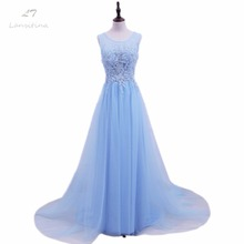 LANSITINA Sexy O-Neck A-Line Sweep Train Tulle Lace Evening Dress Bare Back Cheap Prom Dresses Robe De Soiree Party Dress