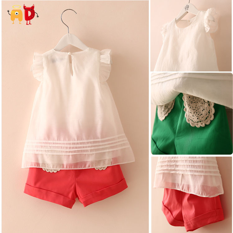 AD 5sets/lot Elegant Girls Sets Summer Style Clothing sets Kids Top + Shorts Girls Children Clothing Baby Girl Clothes meninas