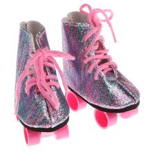 Pair of Lace Up Colorful Bling Bling Roller Skates Shoes for 18inch American Girl Dolls Clothing Accessories(China)