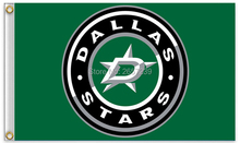 Dallas Stars logo with modified Flag 3x5FT NHL banner 100D 150X90CM Polyester brass grommets custom66, Free Shipping
