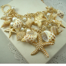 Sea Style Gold Color Big Starfish Statement Necklaces Crystal Choker Conch Shell Necklaces & Pendants For Women Gifts(China)