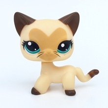 PET SHOP LPS #3573 Yellow Short Hair Cat Animals Collection Figure For Girl  Heart Face Kitty