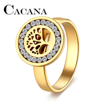 CACANA High Quality Fashion Crystal Tree of Life Classical Stainless Steel Rings For Women Hollow Jewelry Christmas Gift(China)