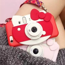 Super Cute Cartoon 3D Hello Kitty Self Fill Light Device Silicon Case Cover With Lanyard For Iphone6 6S 6P 7 7P