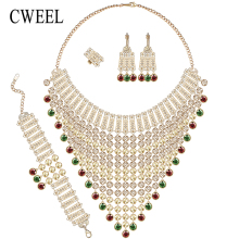 CWEEL African Beads Jewelry Sets Gold Color Nigeria Wedding Beads Dubai Fashion Indian Chunky Jewellery Set Statement Necklace(China)