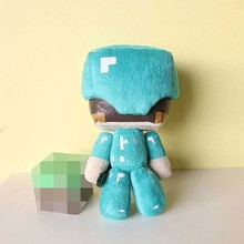 "1pcs Minecraft Steve Plush Toys 7"" Minecraft Steve With Diamond Sword Plush Toy Doll Soft Stuffed Toys for Kids Children Gifts"