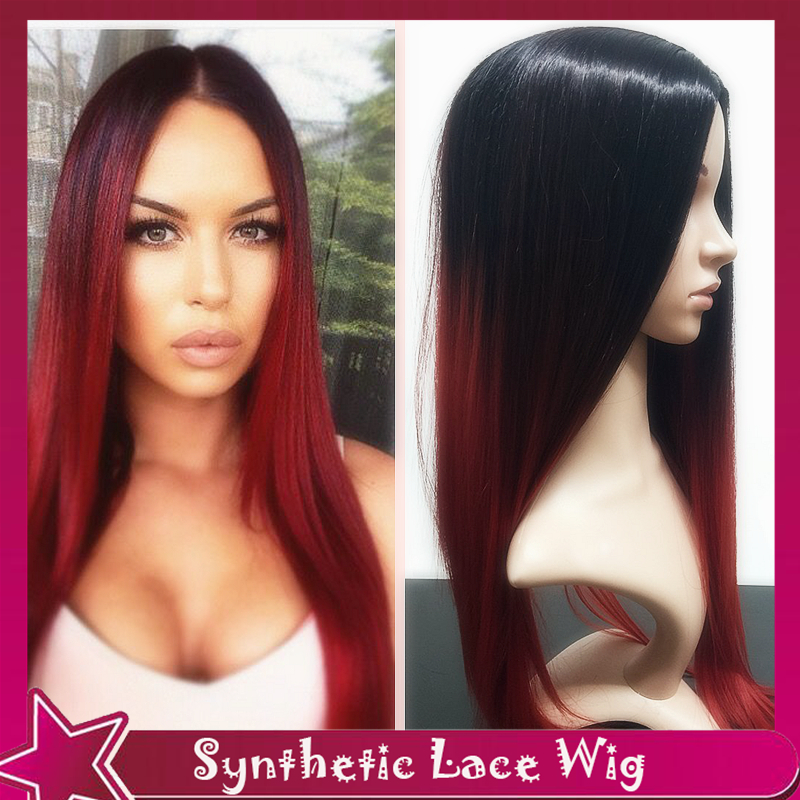European Fashion Ombre Style Synthetic Lace Front Wig Silky Straight Fiber Hair Color Black To Red&amp;Burgundy Ombre Sexy Two-Tone<br><br>Aliexpress