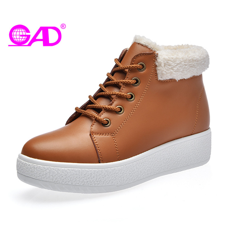 GAD Platform Women Boots 2017 Winter New Fashion Round Toe Lace-up Women Ankle Boots Warm Plush Thick Bottom Shoes Women Boots<br>