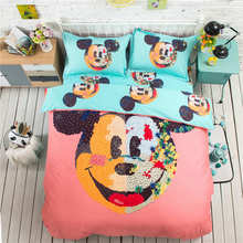 Painting Mickey Mouse 3D Printed Bedding Set Coverlets Bedspreads Girls Children's Bed Cotton Woven 500TC Twin Full Queen King(China)