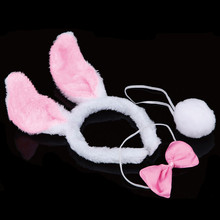 3x Rabbit Bunny Costume Headband Ear Bow Tie Tail Christmas Halloween Party Holiday Gift For Christmas Decorations(China)