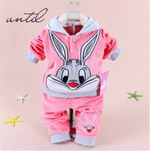 Children's clothing in winter baby boys and girls dress in fashion Hooded Sweater + pants 2 piece 1-4 years old children's cloth(China)