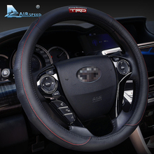 38CM Genuine Leather Car Steering Wheel Cover Accessories TRD for Toyota Corolla 2014 Prius RAV4 Yaris Auris Hilux Avensis Camry(China)