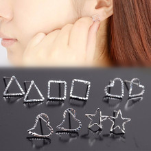 Fashion multi Variety Simple silver color flower Heart love triange Stud Earrings Wholesales Factory Direct Sales Jewelry