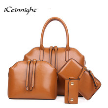 iCeinnight Buy one get four! Women Oil Wax Leather 4 Sets Large Capacity Shoulder Bag Handbags Ladies Zipper Tote Bags Handbag