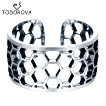 Todorova 925 Sterling Silver Wide Honeycomb Beehive Nest Honey Bee Adjustable Ring Knuckle Midi Pinkie Rings for Women Men Gift