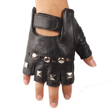 2015 men summer pole dancing hole backless New Fingerless Rivet Punk Motorcycle Driving Leather Cowhide Velcro Mittens Gloves