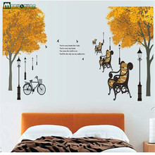 PVC Transparent Wall Stickers DIY Maple Forest Bicycles English Letters Street Lamps Living Room Bedroom Decorative Stickers