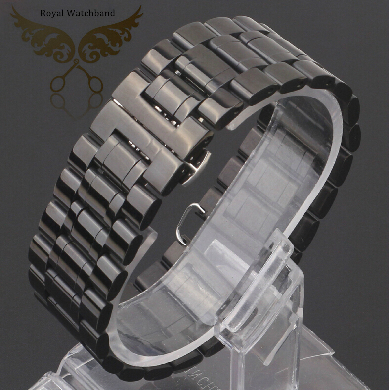 18mm 20mm 22mm 24mm 26mm 28mm 30mm New Mens Black Silver Polished Stainless Steel Replackment Watch Band Strap Bracelets DZ7257S<br>