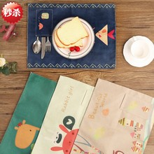 Cartoon cute table disc pads fresh small creative mat Home Equipment cup holder pad non-slip fabric pad table disc pads animals(China)