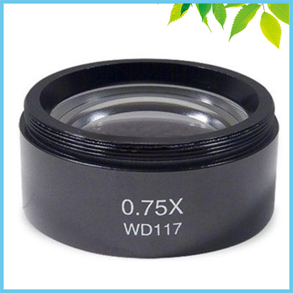 WD117 0.75X Barlow Lens for Stereo Microscope Stereo Microscope Barlow Objective Lens with 1-7/8 (48mm) Mounting Thread<br>