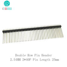 10pcs Double Row Pin Header 2.54MM 2*40P Pin Length 25mm 40Pin Connector Strip 2.54 Electronic Component Dual Row