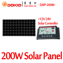 DOKIO Brand 200W 36 Volt Black Solar Panel China + 10A 12/24 Volt Controller 200 Watt Panels Solar Cell/Module/System/Home/Boat