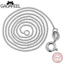 GAGAFEEL 6 Sizes Available 925 Sterling Silver Slim Box Chain Necklace Womens Mens Kids 40/45CM Length 0.6/0.8/1MM Jewelry