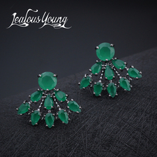 Hot Classical Water Drop Sector Stud Earrings With Green Cubic Zirconia Crystal For Women Party Earings Fashion Jewelry AE286(China)