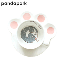 Pandapark Cute Creative Cat Paws Ceramic Personality Milk Mug With Tray Office Coffee Tumbler Breakfast Mugs MCC037(China)