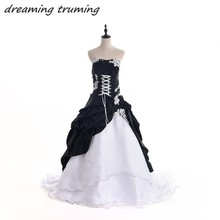 Custom Made Gothic Black And White Wedding Dress 2017 New Victorian Halloween Tulle Lace Applique Bridal Gowns robe de soiree(China)