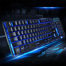 Best Price Three Color Backlight Multimedia Ergonomic Wired Gaming Keyboard(China)