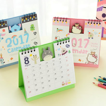 Year 2017 Cute Cartoon Characters 3D Desktop Paper Calendar Dual Daily Scheduler Table Planner Yearly Agenda Organizer(China)