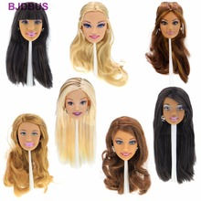"High Quality Doll Head Mixed Style Face Different Straight Curly Hair With Fashion Earrings Flexible Accessories For 12"" Doll(China)"