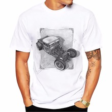 teehub Tops Tees new summer T-shirt mens Comfortable fitness o-neck tshirt men short sleeve punk Muscle retro car t shirt homme
