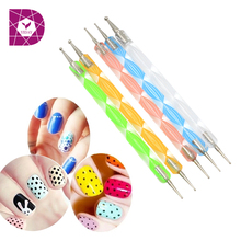 5pcs 2way Nail Polish Art Dotting Marbleizing Pen Tools be used on Natural nails