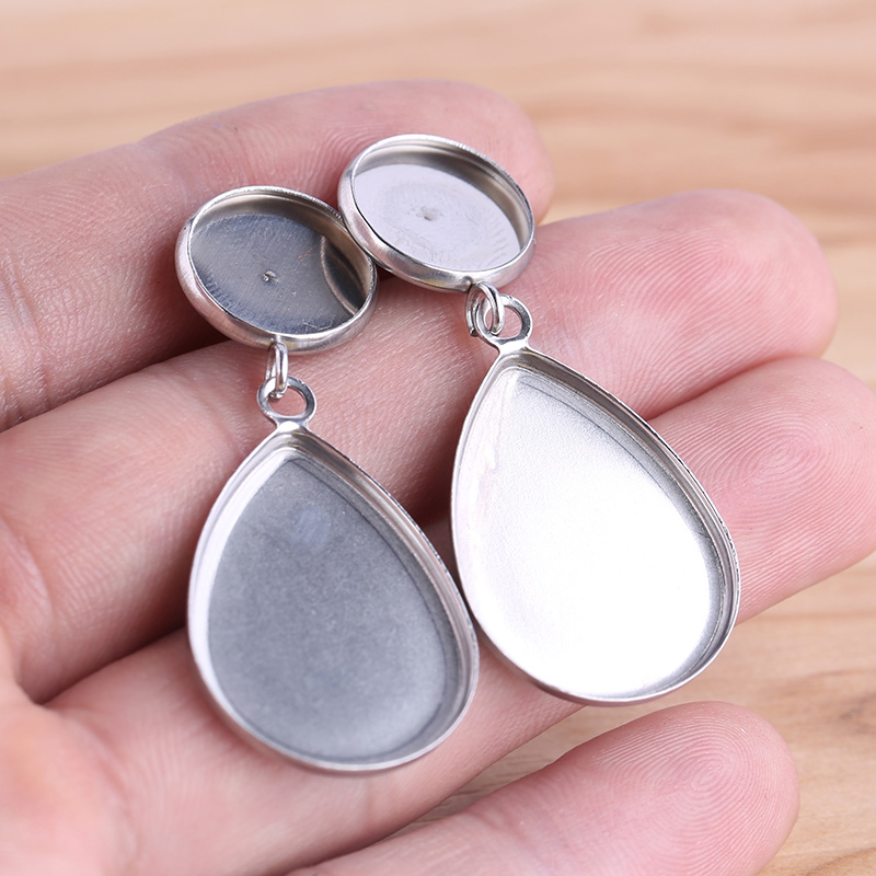 25mmX18mm  Glass teardrop Cabochons-for Blank Pendant Trays 6pcs