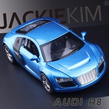 New 1:32 AUDI R8 Metal Toy Cars Model With Musical Flashing Pull Back Car Miniatures Gifts for Children Free Shipping
