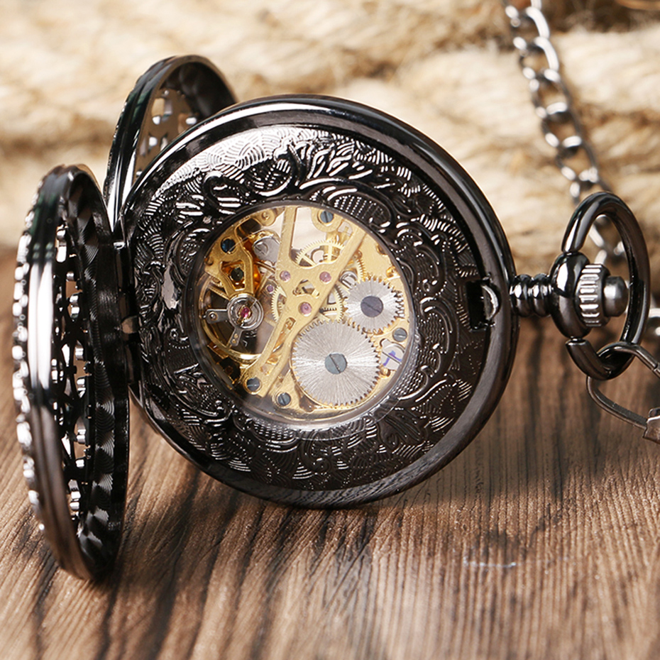 Retro Pocket Watch Black Hollow Case Mechanical Hand-Wind Watch with Necklace Unisex Steampunk Golden Skeleton Pendant Clock (1)