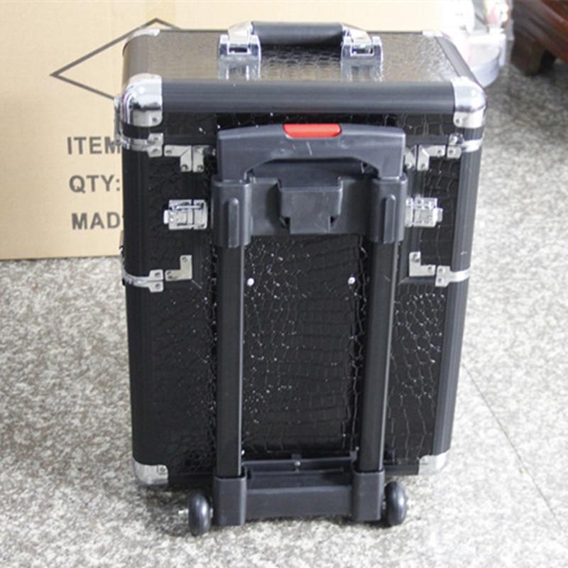 KUNDUI professional Multilayer makeup cosmetics cases large multi-Trolley luggage Bag suitcase caster female Travel storage box