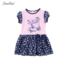 2017 Fashion Summer domeiland Children Clothes for cute girl cotton print Floral Princess lace Bow dress Kid Party clothing(China)