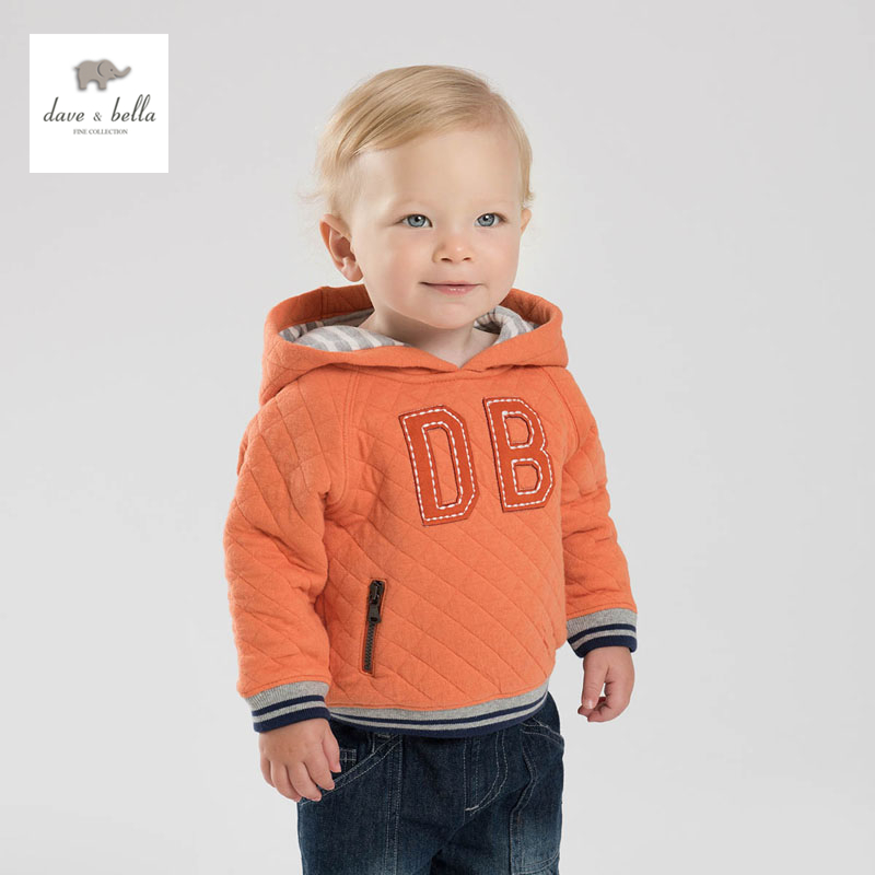 DB3829 dave bella spring baby boys plain orange  hoodies padded sweatshirt <br>