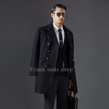 Custom made 2017 2017 Winter Black Wool Coat Men Luxury Brand Double Breasted Long Cashmere Overcoat Mens Slim Fashion Pea Coat(China)