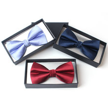 High Quality Solid Color Business & Wedding Bow Tie Mens Imitated Real Silk Bow Tie With Gift Box(China)