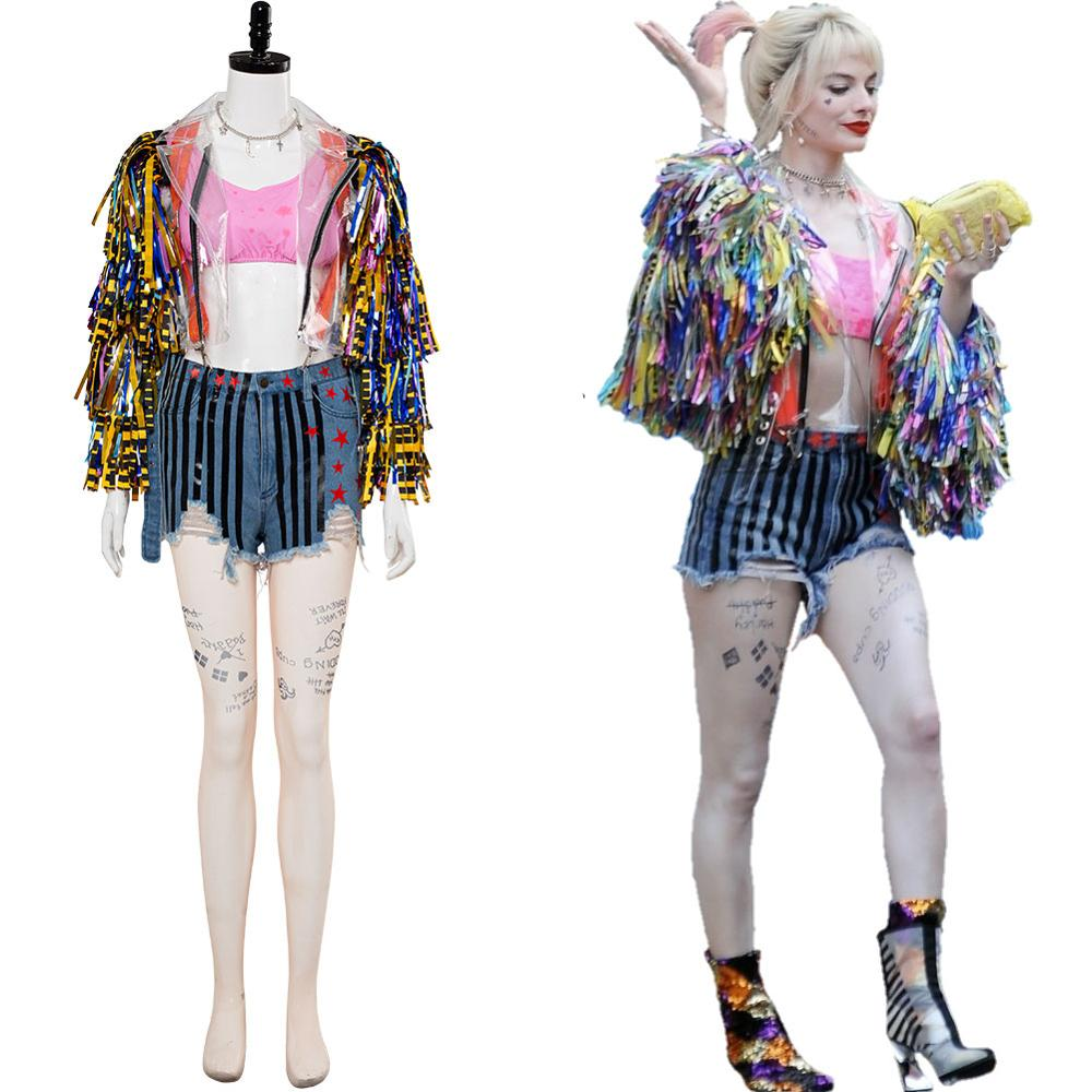 Birds of Prey Costume Harley Quinn Cosplay Adult T-Shirt Shorts Halloween Outfit