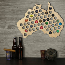Free Shipping 1Piece Australia Bottle Beer Cap Map Laser Engraved Hanging Wooden Map New Wall Decor Gift For Cap Collector