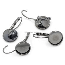 "100Pcs Earring Hooks DIY Findings Cabochon Cameo Setting Disc Round Gunmetal Jewelry Component 26mmx13mm(1""x 4/8"")"