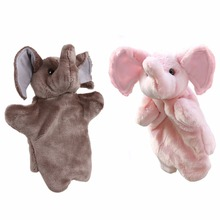 1 Pcs Hand Puppet Cartoon Animals Elephant Baby Kids Children Kindergarten Teaching Toys Soft Doll Plush Toys Gray, Pink